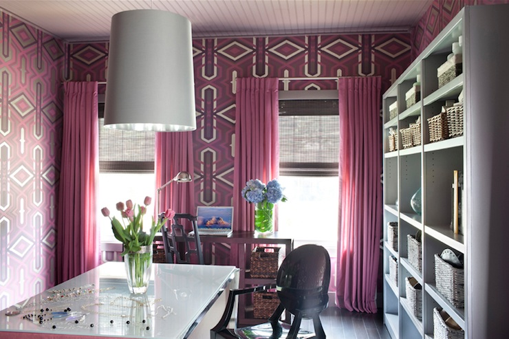 Pink Drapes - Contemporary - den/library/office - Decor Demon - Purple Curtains Ikea