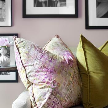 Decor Demon - living rooms - Ralph Lauren - Early Morning - blush pink, blush pink walls, blush pink paint, blush pink paint colors, photo wall, black and white photo wall, ivory sofa, cream sofa, pink and green pillow, green velvet pillow,