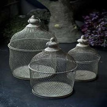 Decor/Accessories - Set of Three Round Metal Bird Cage Planters with Rustic Finish - round, metal, bird, cages