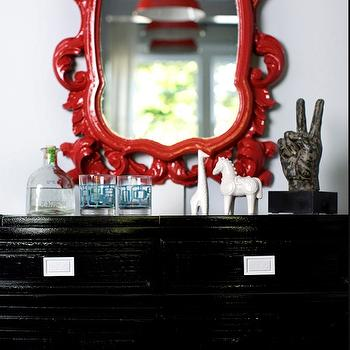 Decor Demon - entrances/foyers - red and black foyer, red mirror, lacquer mirror, red lacquer mirror, black chest, foyer chest, black foyer chest,