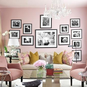 Decor Demon - living rooms - pink walls, pink paint, pink paint color, cowhide ottoman, ikea footstool, ikea cowhide ottoman, pink living room, blush pink, blush pink walls, blush pink paint, blush pink paint colors, photo wall, black and white photo wall, black accent table, marble accent table, black marble accent table, glass lamp, art deco coffee table, glass top coffee table, pink chairs, pink tufted chair, pink velvet chair, Ikea Stockholm Footstool - Cowhide,