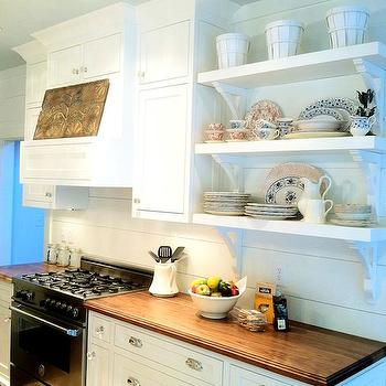 White Kitchen Cabinets with Butcher Block Countertops, Traditional, kitchen, Milk and Honey Home