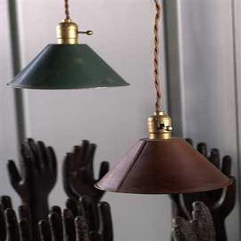 Lighting - Vintage Green Metal Pendant Lamp with Plug - vintage, metal, pendants