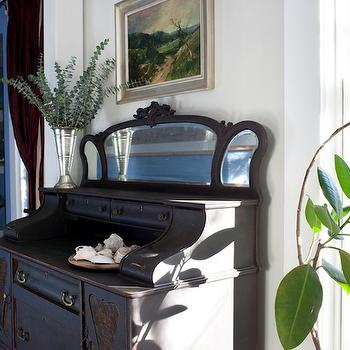 Decor Demon - entrances/foyers - black secretaire, secretaire, tropical foyer, foyer,  tropical foyer with antique black secretaire.