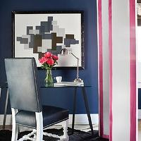 Decor Demon - bedrooms - office, pink and blue office, home office, cobalt blue, cobalt blue walls, glass top desk, sawhorse desk, modern sawhorse desk, leather chair, desk chair, leather desk chair, blue leather chair, studded chair, studded leather chair, nailhead chair, nailhead leather chair, bleu desk chair, cowhide rug, floor screen, white and pink floor screen,