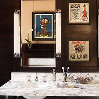 Decor Demon - bathrooms - vintage bathroom, cigar club bathroom, dark wood paneling, paneled bathroom, wood paneled bathroom, dark wood paneling, dark paneled bathroom, double washstand, marble washstand, marble double washstand, marble top washstand, his and her sinks, vintage art prints,