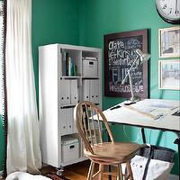 Decor Demon - dens/libraries/offices - architect's desk, oak, stool, ikea curtains, ikea drapes, ikea window treatments, ikea panels, green walls, green paint, green paint color, office paint colors, ikea expedit bookcase, expedit bookcase, white expedit, white expedit bookcase, oak bar stools, oak stool, clock, Ikea RITVA Panels,