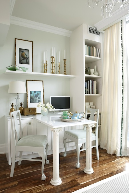 Built In Desk Transitional Den Library Office Para