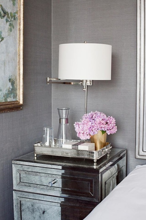 Grey Bedside Tables: Grasscloth Bedside Table 2017