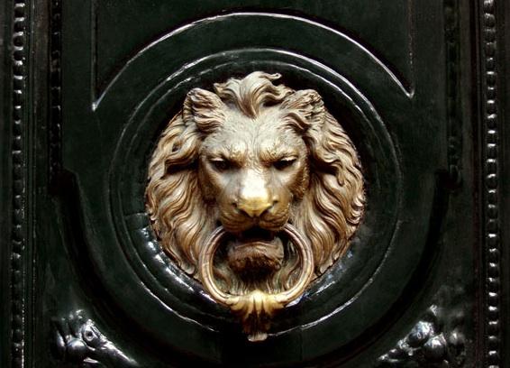 Lion door knocker transitional home exterior carlyle designs - Lion face door knocker ...