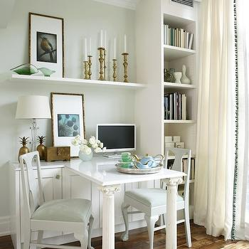 Built In Desk, Transitional, den/library/office, Para Paints Eyelet, Sarah Richardson Design