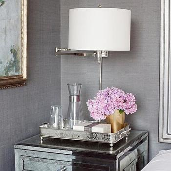 Carlyle Designs - bedrooms: mirrored, nightstand, gold leaf, vase, mirror nightstands, mirrored nightstands, mirrored bedside tables, gray grasscloth, gray grasscloth wallpaper, swing arm sconce, bedroom sconce, bedroom swing arm sconce, gold vase, footed tray, silver tray, silver footed tray,