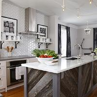 Amazing kitchen with gray paint color, Ikea kitchen cabinets with Silestone Grey ...