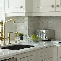 Sarah Richardson Design - kitchens - small kitchen, small chic kitchen, chic small kitchen, shaker cabinets, white shaker cabinets, kitchen peninsula, brass faucet, brass kitchen faucet, octagon tile, marble octagon tile, octagon tile backsplash, marble octagon tile backsplash, octagon backsplash, octagon kitchen backsplash, marble octagon backsplash, marble octagon kitchen backsplash, , Saltillo Imports Marble Mosaics Long Octagon Tiles,