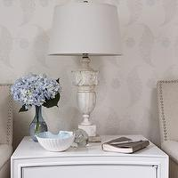Sarah Richardson Design - dens/libraries/offices - farrow and ball wallpaper, alabaster table lamp, alabaster lamp, vintage alabaster lamp, marble lamp, marble table lamp, white chest, white lacquer chest, nailhead chaise lounge, , Farrow & Ball Rosslyn Paper,