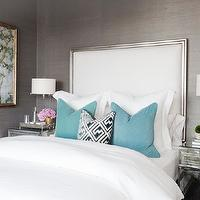 Gray bedroom with teal accents! Bedroom with gray grasscloth wallpaper, tall silver ...