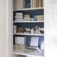 Sarah Richardson Design - dens/libraries/offices - closet office, office in closet, closet desk, desk in closet, closet work space, work space in closet, closet converted into office, converted closet office, converted office closet, closet transformed into office, closet turned office, blue closet, closet shelves, built in closet shelves, built in desk, , Farrow & Ball Rosslyn Paper,