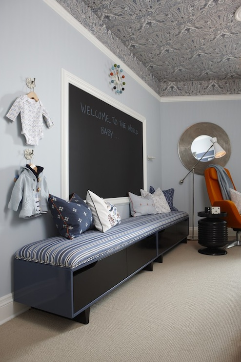 Sarah Richardson Design - nurseries - Para Paints - Oxford - Thibaut Charlton Paisley Wallpaper Tidewater Blue, Ikea Arvika Swivel Chair, blue, walls, Ikea, bench, blue, striped, cushion, framed, chalkboard, George Nelson, Clock,