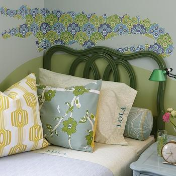 Sarah Richardson Design - girl's rooms - two tone walls, 2 tone walls, blue and green walls, blue and green paint colors, blue and green girls room, blue and green girls bedroom, alligator wall decal, twin headboard, green headboard, twin green headboard, green twin headboard, green and blue bedding, girls bedding, girls headboard, metallic green lamp, blue nightstand, Para Paints Greenhouse, Para Paints Brunch With Friends, Para Paints Cucumber Sandwiches,