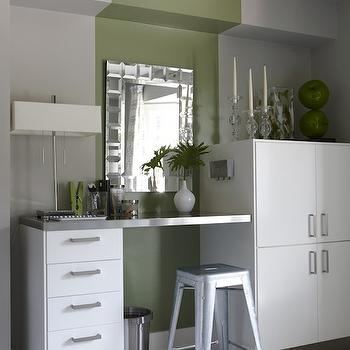 Sarah Richardson Design - kitchens - ikea cabinets, gray and green walls, striped walls, tolix stools, marais stool, stainless steel counter, stainless steel countertop, Para Paints Outside Influence, Marais Tolix Counter Stool, Ikea Cabinets,