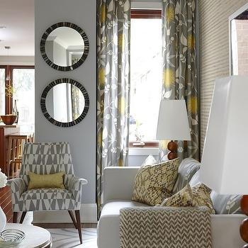 Yellow and Gray Curtains, Contemporary, living room, Para Paints Courtyard, Sarah Richardson Design