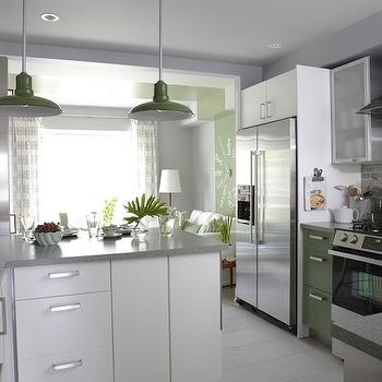 Sarah Richardson Design - kitchens - ikea cabinets, ikea kitchen cabinets, green cabinets, green kitchen cabinets, vintage barn pendants, barn pendants, green barn pendants, green vintage barn pendants, ikea countertops, Para Paints Outside Influence, Para Paints Old Sterling, Ikea Countertop,