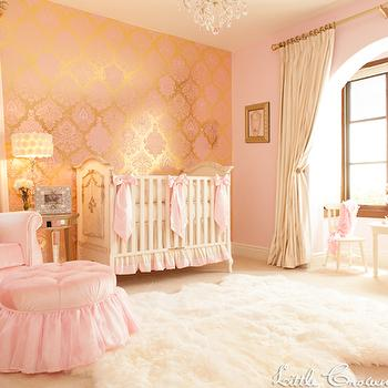 Little Crown Interiors - nurseries - nursery, girls nursery, pink nursery, gold nursery, damask nursery, luxury nursery, nursery design, nursery, luxury nursery, gold nursery, ornate nursery, pink nursery, girls nursery, pink damask wallpaper, pink metallic wallpaper, metallic wallpaper, gold mirror, baroque mirror, gold mirror, gold baroque mirror, pink glider, pink nursery glider, nursery glider, slipcovered glider, pink slipcovered glider, pink ottoman, tufted ottoman, pink tufted ottoman, mirrored accent table, pink nursery, pink and gold nursery, white crib, Fruits of Design Bubblegum Damask Wallpaper, Ivory & Pink Silk Crib Bedding Set,