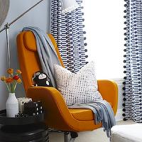 Sarah Richardson Design - nurseries - blue and orange nursery, blue walls, blue paint color, blue paint, nursery paint, nursery paint colors, blue nursery colors, blue nursery paint colors, geometric curtains, geometric drapes, geometric window panels, blue geometric curtains, blue geometric drapes, blue geometric window panels, white and blue geometric curtains, white and blue geometric drapes, white and blue geometric window panels, ikea chair, arkiva swivel chair, orange chair, modern orange chair, black accent table, , Ikea Arvika Swivel Chair,