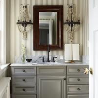 Sarah Richardson Design - bathrooms - gray cabinets, gray bathroom cabinets, marble top vanity, vanity with marble top, bathroom vanity with marble top, marble top vanity, bathroom vanity with white marble top, gray vanity with marble top, gray bathroom vanity with marble top, gray cabinet with marble countertop, striped wallpaper, vertical striped wallpaper, vertically striped wallpaper, ivory and gray wallpaper, ivory and gray striped wallpaper, beveled mirror, beaded sconce, beaded wall sconce, bleu cieling, blue bathroom ceiling, blue painted ceiling, Farrow & Ball Block Print Wallpaper,