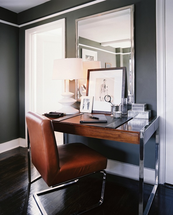 Lonny Magazine - bedrooms - Benjamin Moore - Durango - Restoration Hardware Traditional Wall Mirror, Ralph Lauren Modern Penthouse Dining Chair, dark gray walls, dark grey walls, dark gray paint, dark grey paint, dark gray paint color, dark grey paint color, dark gray wall paint, dark grey wall paint, dark gray office walls, dark grey office walls, dark gray living room paint, dark grey office paint, dark gray office paint color, dark grey office paint color, silver mirror, rectangular mirror, wood top desk, modern desk, polished chrome desk, leather chair, desk chair, leather desk chair, ralph lauren chair,