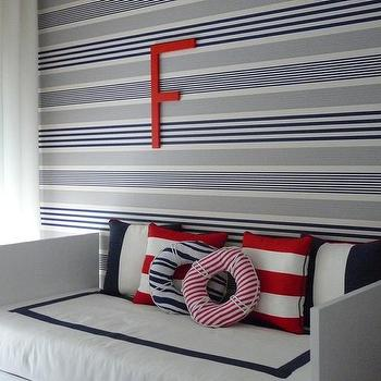 Blanco Interiores - boy's rooms - Nautical, boy bedroom, red, navy, white, stripes, horizontal stripes. white drapes, daybed, white daybed, modern daybed, striped boys room, boys bed, boys daybed,