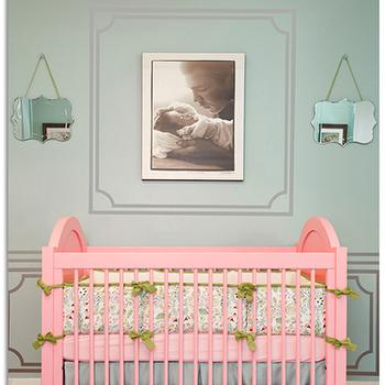 Little Crown Interiors - nurseries - nursery, designer nursery, celebrity nursery, laila ali nursery, pink nursery, pink green nursery, nursery design ideas, nursery ideas, baby girl nursery, pink and blue nusrery,