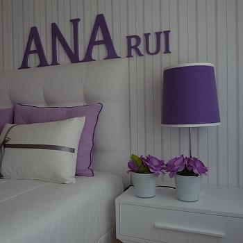 Blanco Interiores - girl's rooms - stripes, wallpaper, grey, white, purple, lilac, upholsterd headboard, white furniture, white and purple girls room, white and purple girls bedroom,