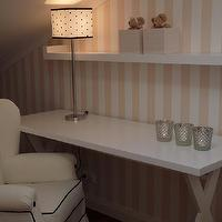Blanco Interiores - girl's rooms - childreen bedroom, polkadots, stripes, pink, black white, venetian mirror, white furniture, white desk, x base desk, girls desk, tufted chair, wingback chair, white tufted chair, button tufted chair, white wingback chair, white and pink striped, striped walls, white and pink striped walls, striped girls room, striped girls room walls,