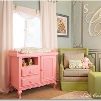 Little Crown Interiors - nurseries - nursery, celebrity nursery, laila ali nursery, pink nursery, pink green nursery, pink crib, pink blue nursery, baby girl nursery, nursery design, nursery ideas, pink changing table, green glider, nursery glider, green nursery glider,