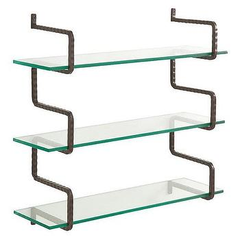 Storage Furniture - Arteriors Wally Iron/Glass Wall Mount Shelves - arteriors, wally, iron, glass, wall, mount, shelves