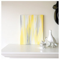 Art/Wall Decor - 11x14 Canvas Painting Ikat Yellow & Grey by luluanddrew on Etsy - yellow, gray, ikat, art