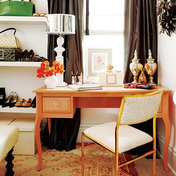 Orange and Brown Room, Contemporary, den/library/office, Meredith Heron Design