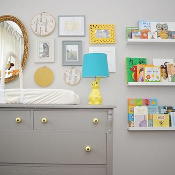 Project Nursery - nurseries - gray nursery, vintage changing table, chest turned changing table, gray chest, gray changing table, gilt mirror, oval mirror, gold oval mirror, gilt oval mirror, bunny lamp, nursery lamp, yellow bunny lamp, ikea picture ledge, ribba picture ledge, white picture ledge, Ikea Ribba Picture Ledge,