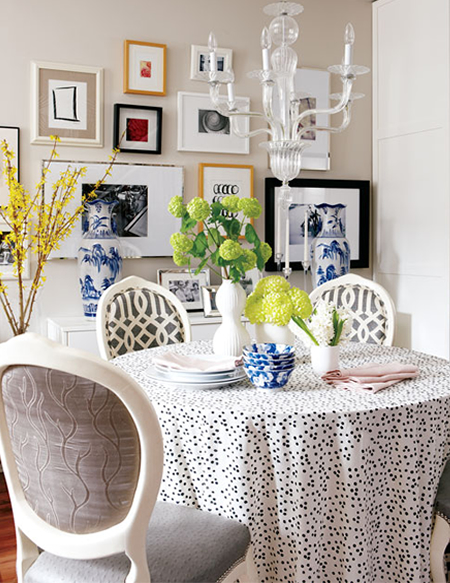 Meredith Heron Design - dining rooms - Kelly Wearstler Imperial Trellis Midnight/Parchment, cafe au lait walls, eclectic art gallery, dining room, dining room art, dining room art gallery, lacquer cabinet, low cabinet, white low cabinet, white lacquer cabinet, round dining table, dalmatian tablecloth, french dining chairs, imperial trellis chairs, imperial trellis dining chairs,