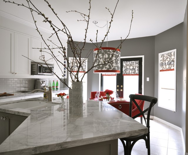 Shantung silhouette smoke contemporary kitchen - White kitchen red accents ...