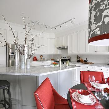 White and Red Kitchen, Contemporary, kitchen, Meredith Heron Design