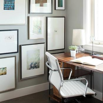 Kelly Deck Design - dens/libraries/offices: roman shade, linen roman shade, brown roman shade, reclaimed wood desk, eames office chair, art wall, office art, office art wall, office, gray walls, gray office walls,