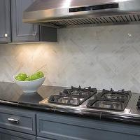 kitchens - painted wood cabinets, herringbone backsplash, marble herringbone backsplash, kitchen herringbone backsplash, herringbone kitchen backsplash,