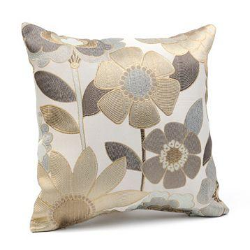 Pillows - Tan Acadia Pillow at Kirkland's - pillow, floral, embroidered, metallic, cream, taupe