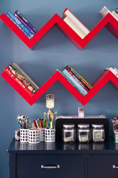 Zig zag shelf contemporary boy 39 s room a s d interiors for Zig zag bedroom ideas