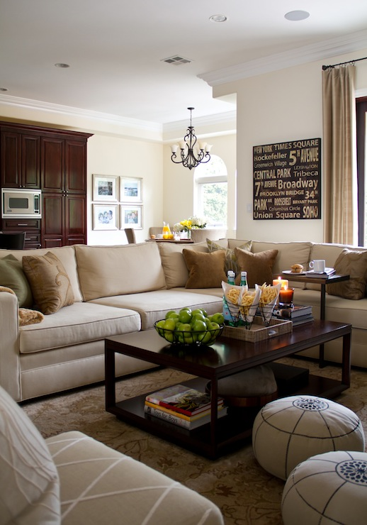 Beige Sectional Transitional Living Room A S D