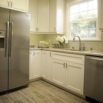 Gray Staggered Tile Floor, Contemporary, kitchen, A.S.D. Interiors