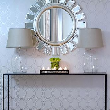 A.S.D. Interiors - entrances/foyers - darcy wallpaper, geometric wallpaper, white and silver wallpaper, white and silver geometric wallpaper, sunburst mirror, glass table lamps, sleek console table, metal console table, , Graham & Brown Darcy,