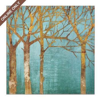 Art/Wall Decor - Golden Day Wall Art at Kirkland's - abstract, tree, teal, gold, art